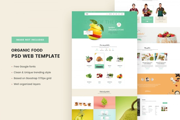 Organic and food store  web template