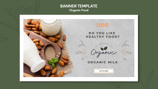 Organic food template banner