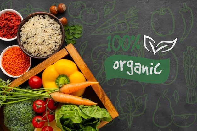 Organic food top view on a grunge background