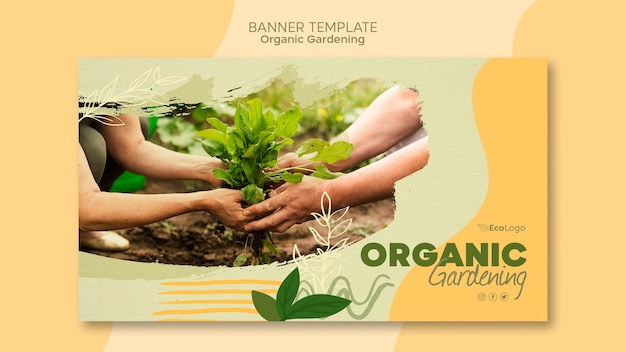 Modello di banner di giardinaggio biologico