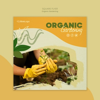 Organic gardening flyer template with photo
