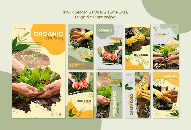 Organic gardening stories template with photo
