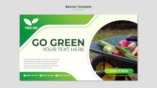 Modello di banner verde go organico