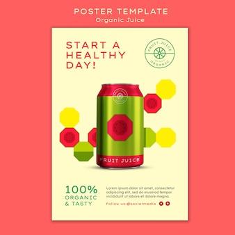 유기농 주스 캔 포스터 템플릿