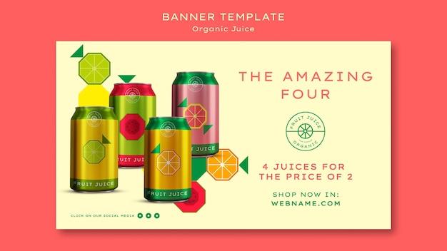 Banner orizzontale di succo biologico