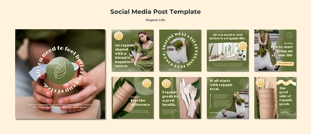 Organic life instagram posts template