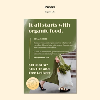 Organic life poster template