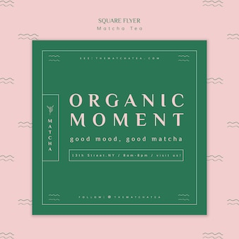 Organic matcha tea moment square flyer