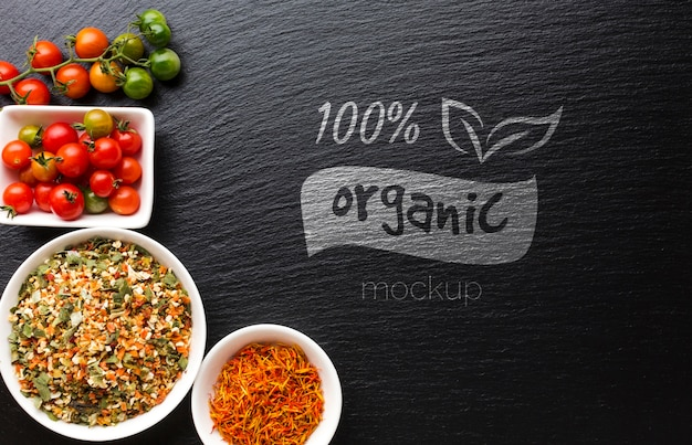 Organic mock-up with spices and tomatoes