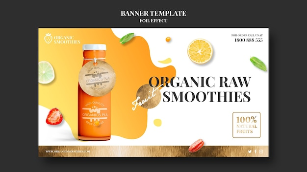 Organic smoothies ad template banner
