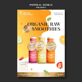Organic smoothies ad template poster