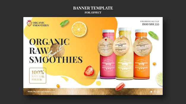 Organic smoothies banner template