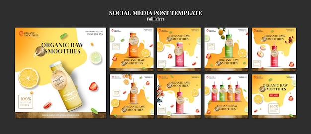 Organic smoothies social media post template