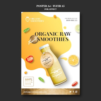Organic smoothies template poster