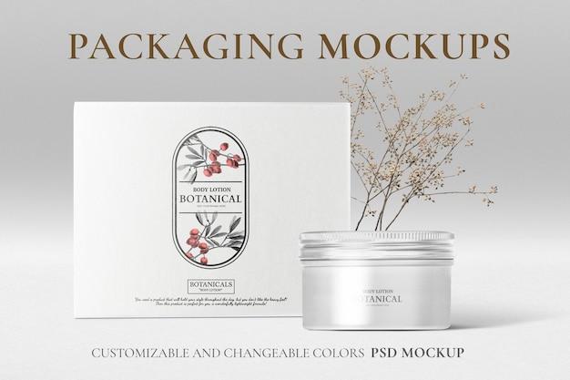 Mockup di marchio e confezionamento di tè biologico