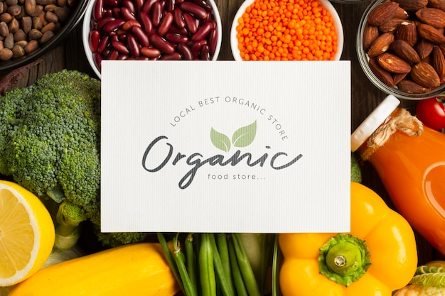 Organic vegetables and ingredients top view