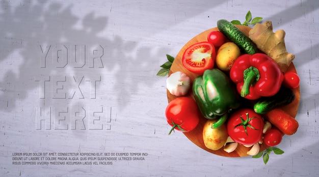Organic vegetables on wooden board mockup
