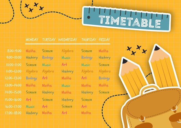 Organized timetable for children template