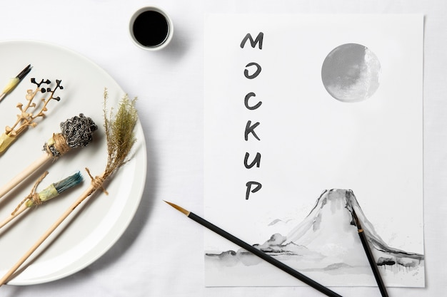 Oriental asian ink mock-up