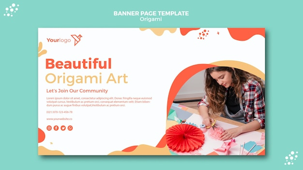Origami banner template design