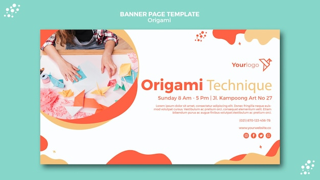 Origami banner template