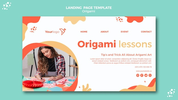 Origami landing page design
