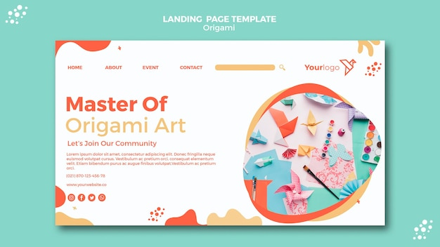 Pagina web landing page origami