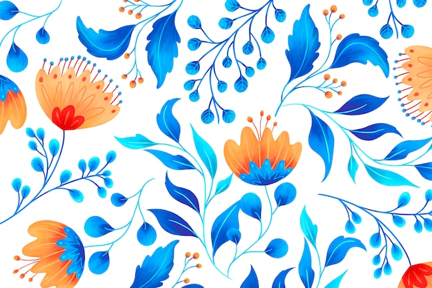 Ornamental floral pattern with artistic flowers
