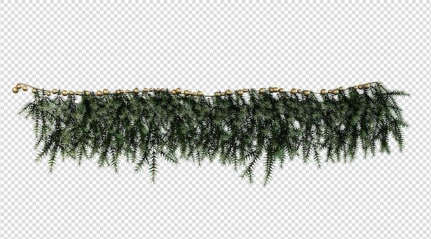 ガラスの木の葉の3dレンダリングからの観賞植物