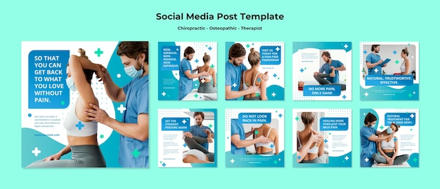 Modello di post sui social media per l'osteopatia