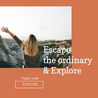 Modello psd di avventura all'aria aperta per post sui social media