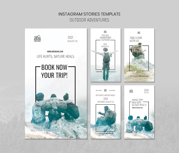 Outdoor adventures concept instagram stories template