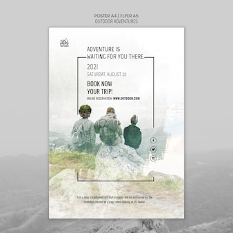 Outdoor adventures concept poster template