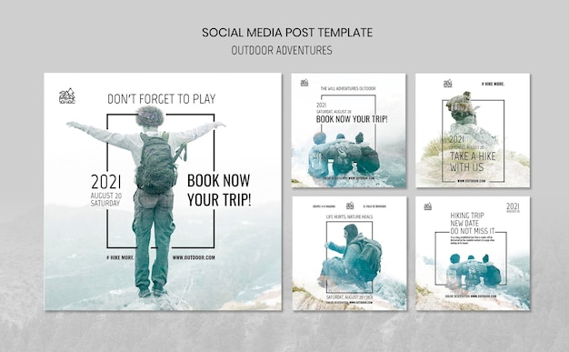 Outdoor adventures concept social media post template