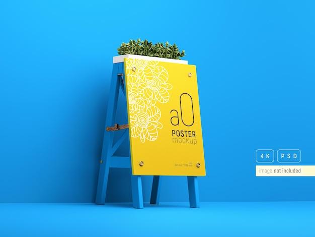 たくさんの植物を使った屋外広告のモックアップに立ち向かう