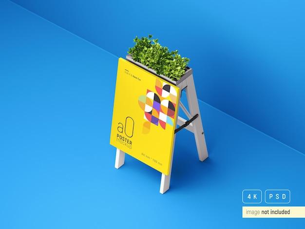 屋外広告ポスターディスプレイスタンドモックアップ透視図