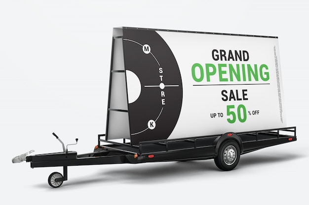 Outdoor advertising signs on trailer mockup