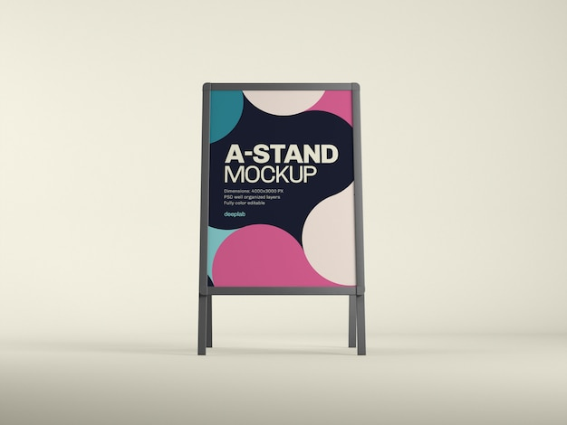 Outdoor advertising a-stand mockup with  color psd