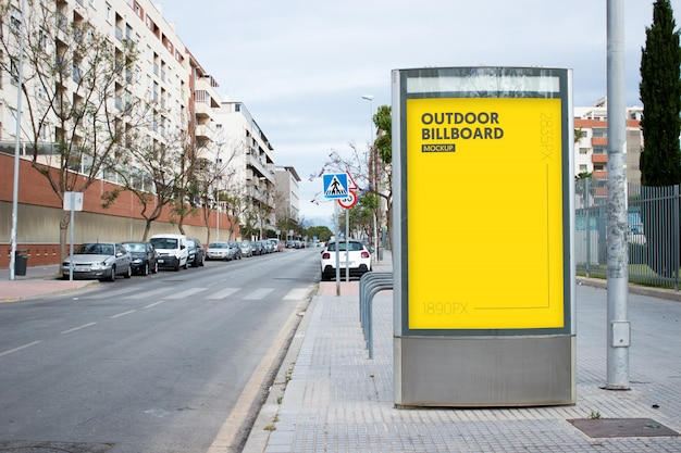 Outdoor billboard in city