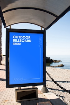 Outdoor billboard close to the beach
