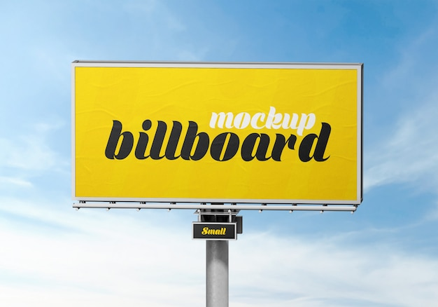 Outdoor billboard mockup against cloudy sky