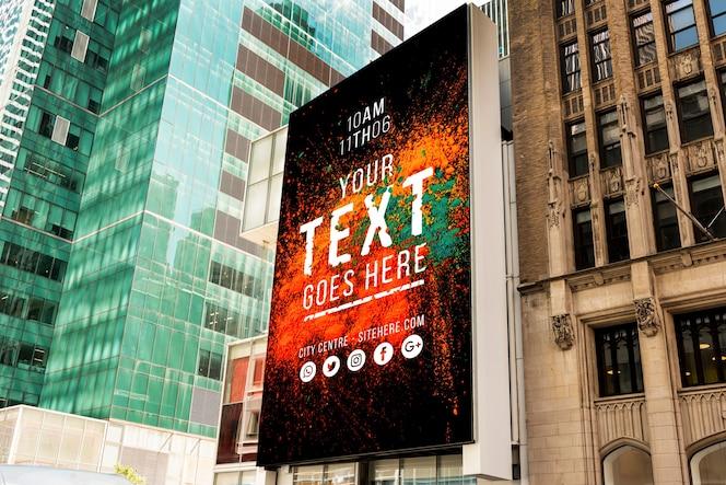 Outdoor billboard with mock-up