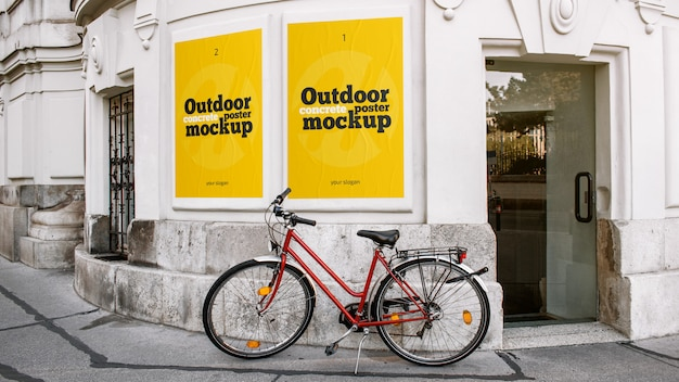Outdoor concrete posters mockup