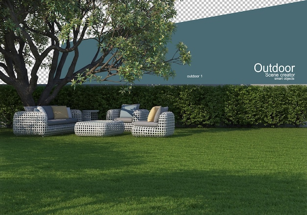 Outdoor furniture on the lawn