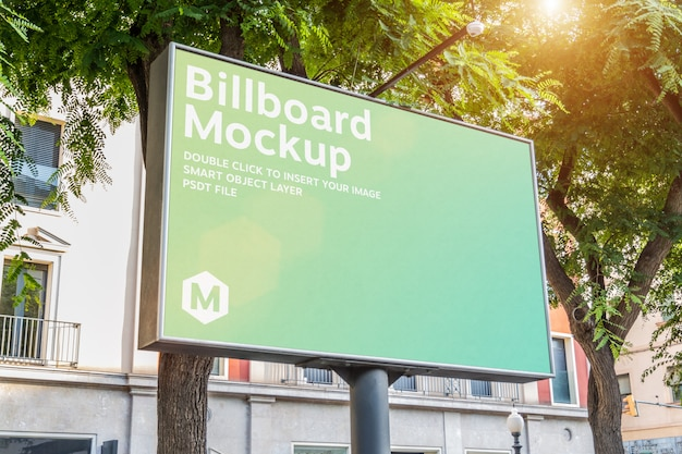 Outdoor horizontal billboard with natural landscape mockup