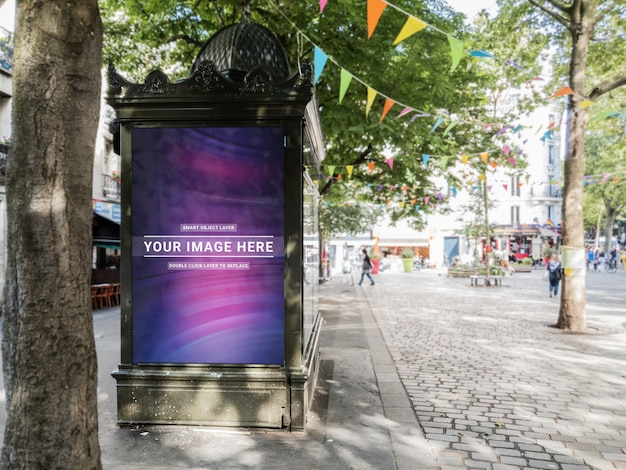 Outdoor newspaper kiosk advertisement in paris mockup