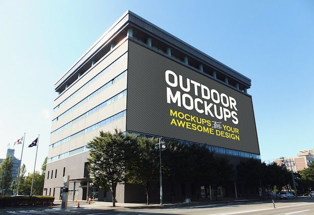 Outdoor panel on bulding mock up Free Psd