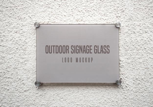 Outdoor signage glass logo mockup
