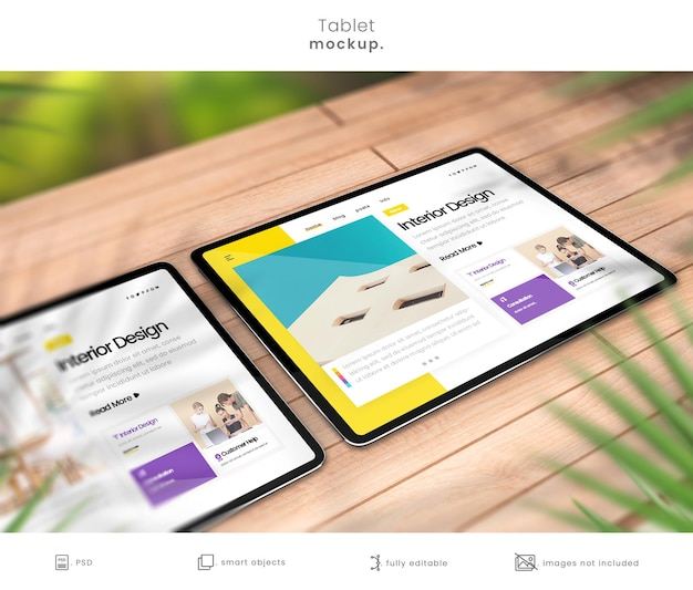 Outdoor tablet mockup on rustic wooden table