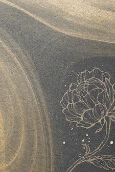 Outline flower decoration on gold glitter background illustration